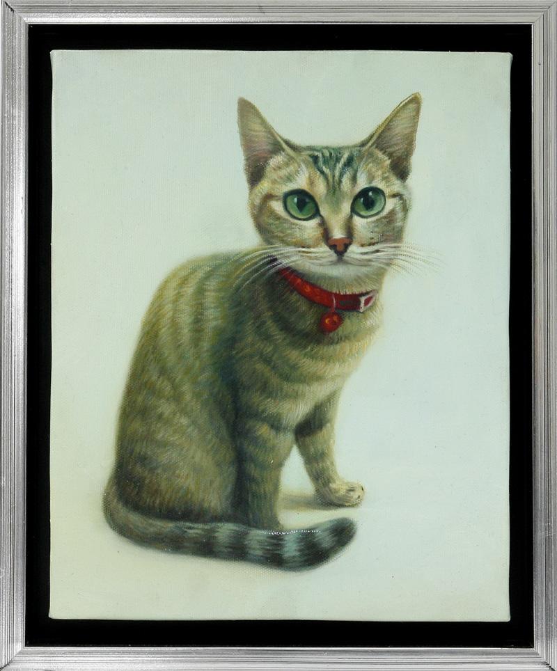 【送料無料】技法が選べるオーダーメイド油絵 ペット一匹 額縁付き 絵画サイズ: 20 x 25cm