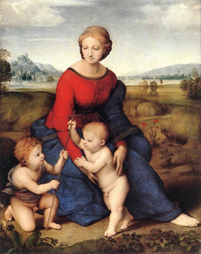 【送料無料】複製名画油絵 ラファエロ作「牧場の聖母」額付き 絵画サイズ: 50x60 cm