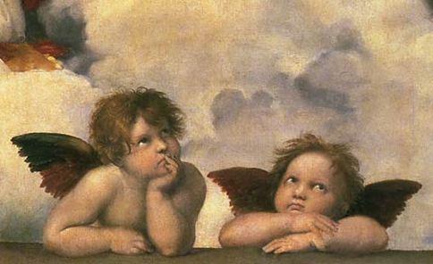 10P06jul13【送料無料】複製名画油絵 ラファエロ作「二人の天使 」(部分:聖会話、システィーナの聖母) 額付き 絵画サイズ: 30x60 cm