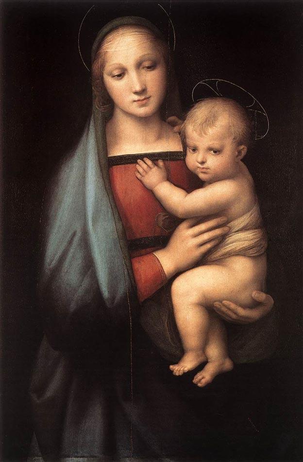 【送料無料】複製名画油絵 ラファエロ作「大公の聖母」額付き 絵画サイズ: 50x60 cm