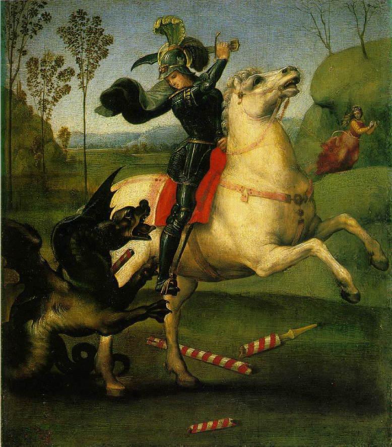 【送料無料】複製名画油絵 ラファエロ作「聖ゲオルギウスと竜」額付き 絵画サイズ: 50x60 cm