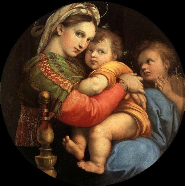 【送料無料】複製名画油絵 ラファエロ作「小椅子の聖母」額付き 絵画サイズ: 50x60 cm