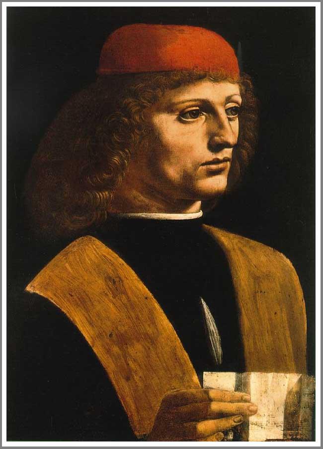 【送料無料】複製名画油絵 ダ・ヴィンチ作「音楽家の肖像」額付き 絵画サイズ: 50x60 cm