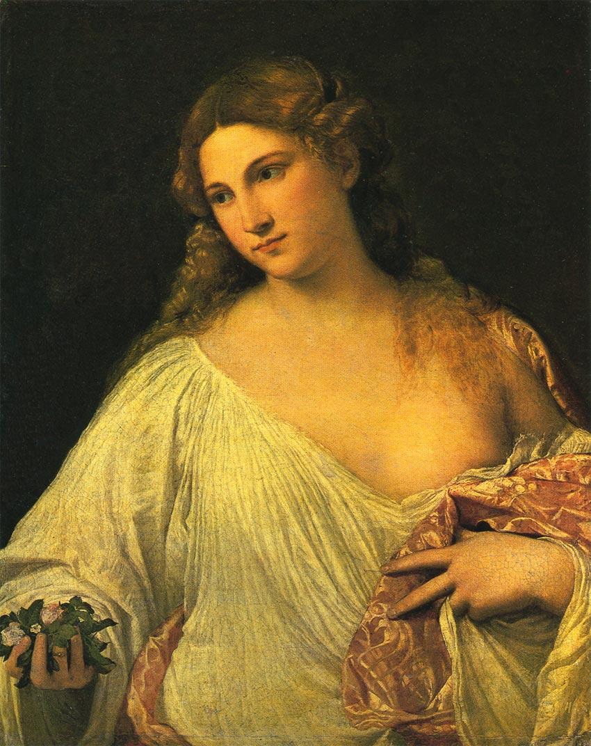 【送料無料】複製名画油絵 ティツィアーノ作「フローラ」額付き絵画サイズ: 50x 60 cm