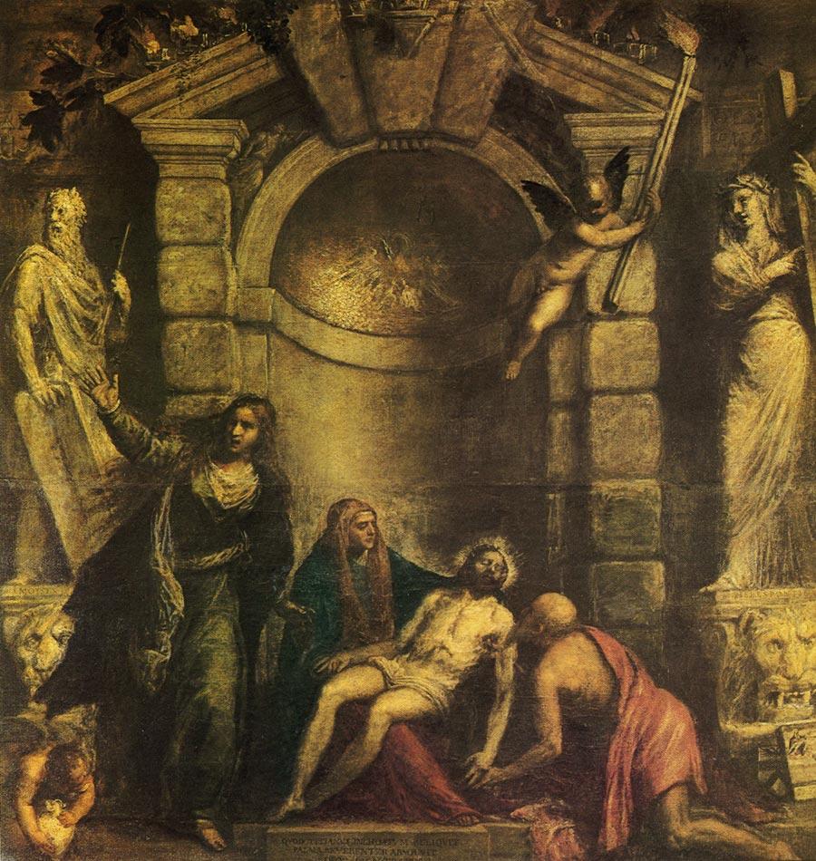 【送料無料】複製名画油絵 ティツィアーノ作「ピエタ 」額付き絵画サイズ: 50x60 cm