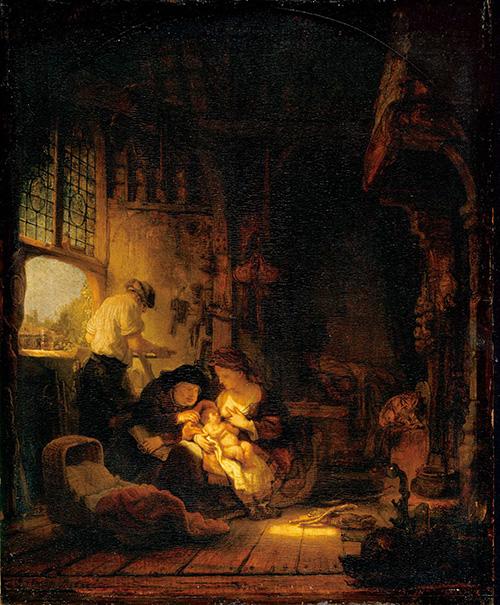 【送料無料】複製名画油絵 レンブラント作「聖家族」額付き絵画サイズ: 50x 60 cm