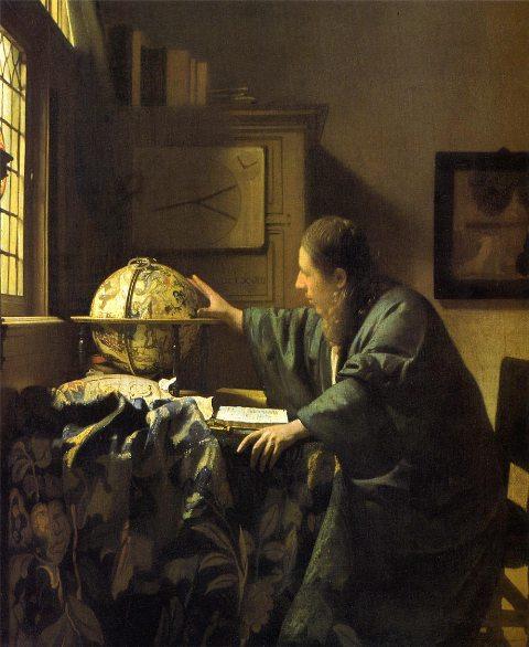 【送料無料】複製名画油絵 フェルメール作「天文学者」額付き絵画サイズ: 50x 60 cm