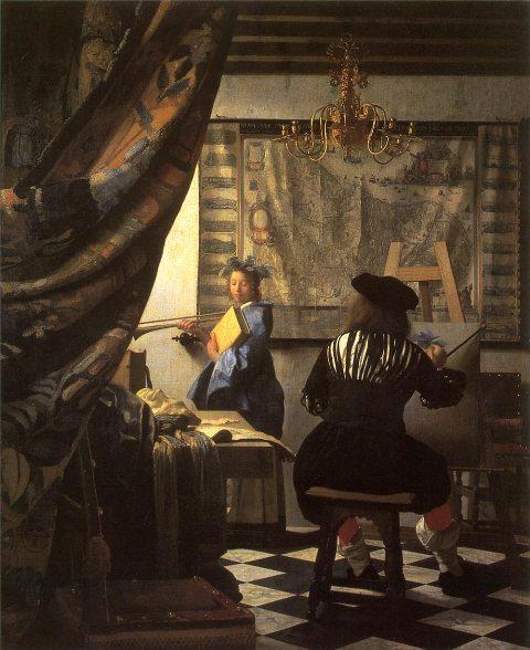 【送料無料】複製名画油絵 フェルメール作「絵画芸術」額付き絵画サイズ: 50x 60 cm