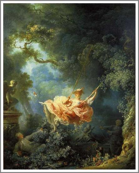 【送料無料】複製名画油絵 フラゴナール作「ぶらんこの絶好のチャンス 」額付き 絵画サイズ: 50x60 cm