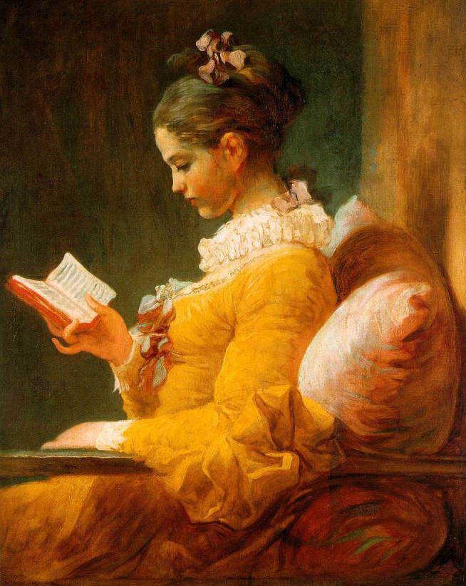 【送料無料】複製名画油絵 フラゴナール作「読書する娘 」額付き 絵画サイズ: 40x50 cm