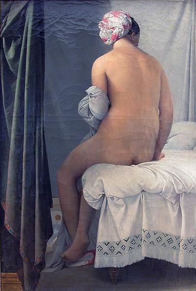【送料無料】複製名画油絵 アングル作「ウァルバンソンの浴女 」額付き 絵画サイズ: 50x60 cm