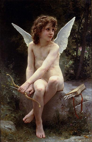 【送料無料】複製名画油絵 ブグロー作「愛の見張り番」額付き 絵画サイズ: 50x60 cm