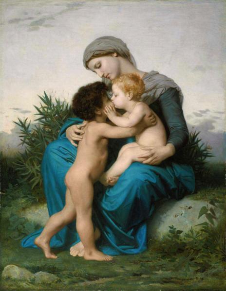 【送料無料】複製名画油絵 ブグロー作「兄弟愛」額付き 絵画サイズ: 50x60 cm