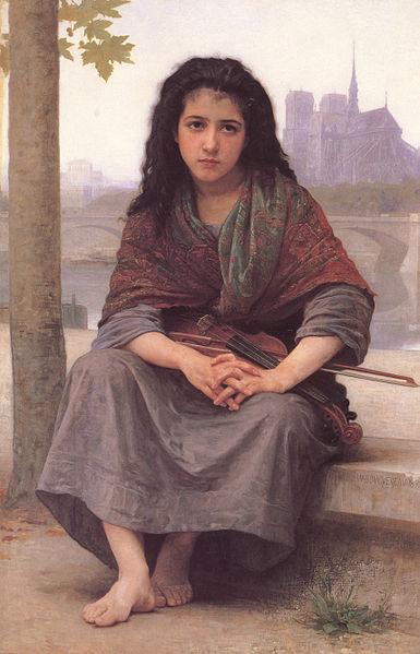 【送料無料】複製名画油絵 ブグロー作「ボヘミアン」額付き 絵画サイズ: 50x60 cm