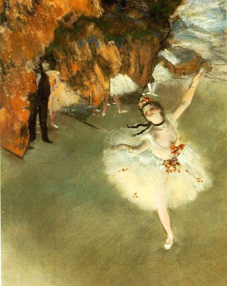 【送料無料】複製名画油絵 ドガ作「舞台の踊り子 」額付き 絵画サイズ: 50x60 cm