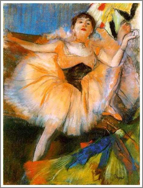 【送料無料】複製名画油絵 ドガ作「座る踊り子 」額付き 絵画サイズ: 50x60 cm