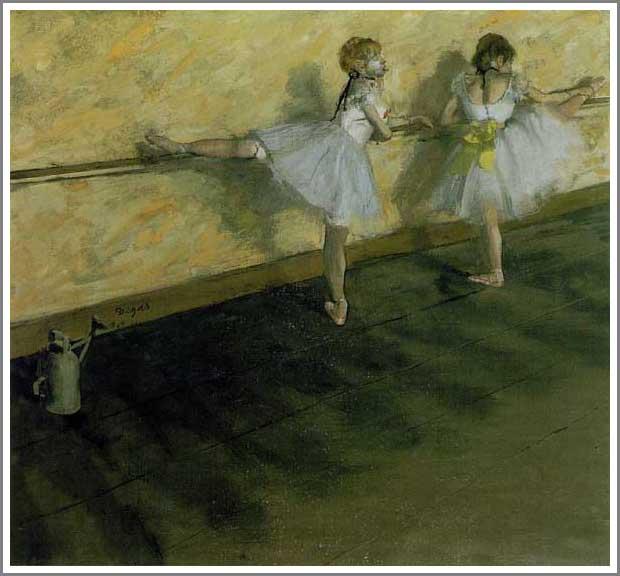 【送料無料】複製名画油絵 ドガ作「バーで練習中の踊り子 」額付き 絵画サイズ: 50x60 cm