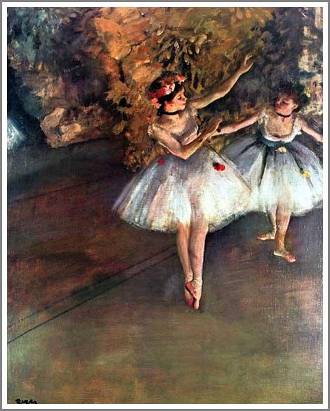 【送料無料】複製名画油絵 ドガ作「舞台の二人の踊り子 」額付き 絵画サイズ: 50x60 cm