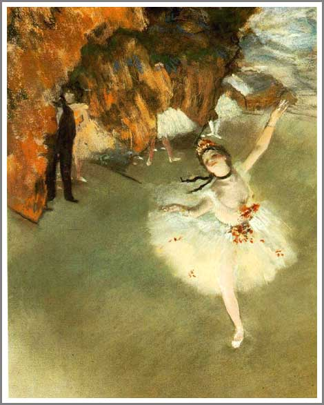 【送料無料】複製名画油絵 ドガ作「舞台の踊り子 」額付き 絵画サイズ: 30x40 cm