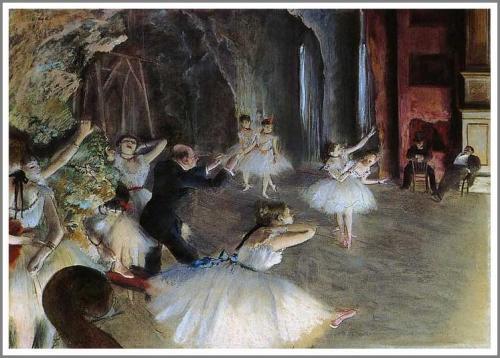 【送料無料】複製名画油絵 ドガ作「舞台のバレエ稽古 」額付き 絵画サイズ: 50x60 cm