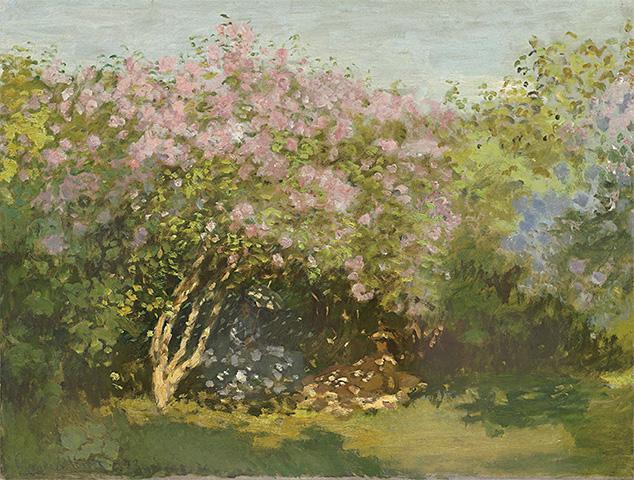【送料無料】複製名画油絵モネ作「陽だまりのライラック」額付き絵画サイズ: 50x60 cm