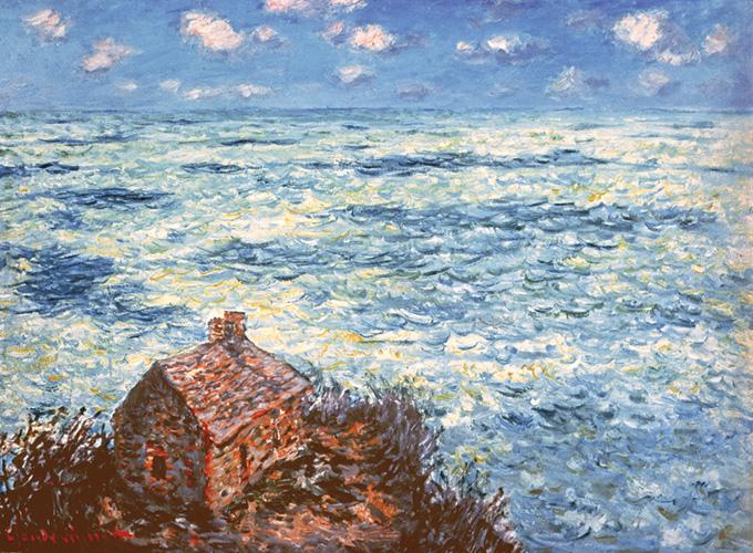 【送料無料】複製名画油絵 モネ作「税関吏の小屋 荒れた海」 額付き 絵画サイズ: 50x60 cm