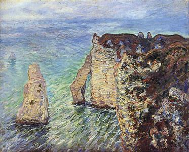 【送料無料】複製名画油絵 モネ作「アヴァルの門」 額付き 絵画サイズ: 50x60 cm