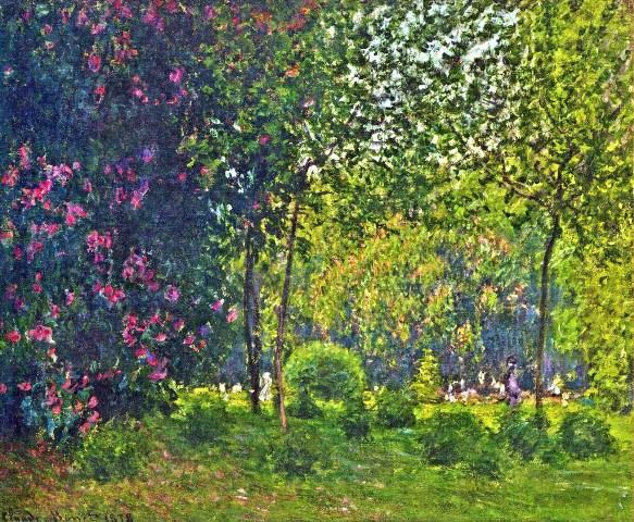 【送料無料】複製名画油絵 モネ作「モンソー公園」 額付き 絵画サイズ: 50x60 cm
