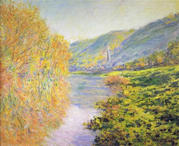 【送料無料】複製名画油絵 モネ作「セーヌ川の川岸 秋のジュフォス」 額付き 絵画サイズ: 50x60 cm