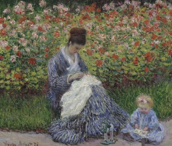 【送料無料】複製名画油絵 モネ作「アルジャントゥイユの庭のカミーユ・モネと子供」  額付き 絵画サイズ: 50x60 cm