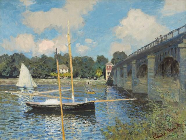 【送料無料】複製名画油絵 モネ作「アルジャントゥィユの橋」  額付き 絵画サイズ: 50x60 cm