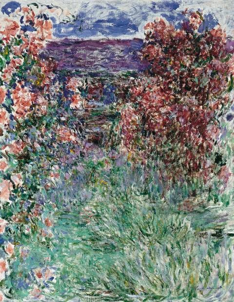 【送料無料】複製名画油絵 モネ作「バラの間の家」  額付き 絵画サイズ: 50x60 cm