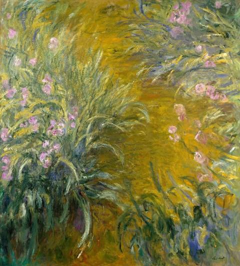 【送料無料】複製名画油絵 モネ作「アイリスの小道」  額付き 絵画サイズ: 50x60 cm