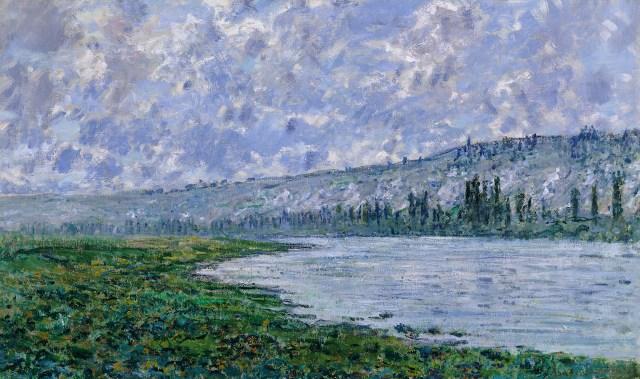 【送料無料】複製名画油絵 モネ作「ヴェトゥイユのセーヌ川」  額付き 絵画サイズ: 40x50 cm