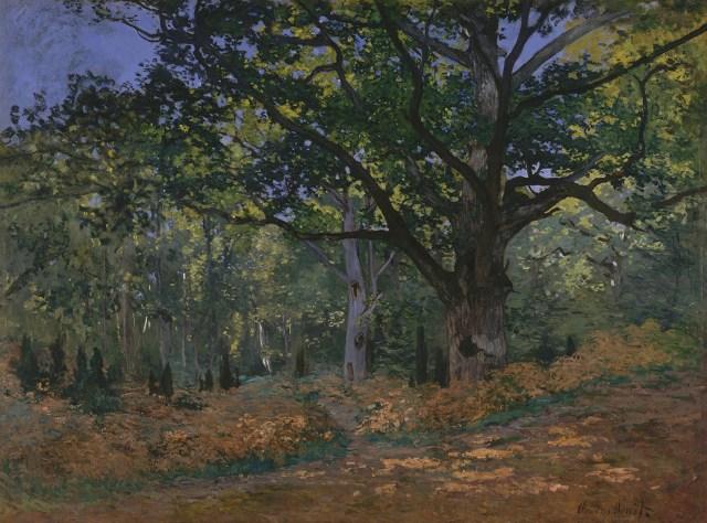 【送料無料】複製名画油絵 モネ作「フォンテーヌブローの森のオーク」  額付き 絵画サイズ: 50x60 cm