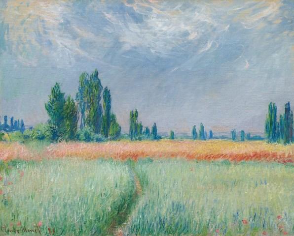 【送料無料】複製名画油絵 モネ作「小麦畑」  額付き 絵画サイズ: 30x40 cm