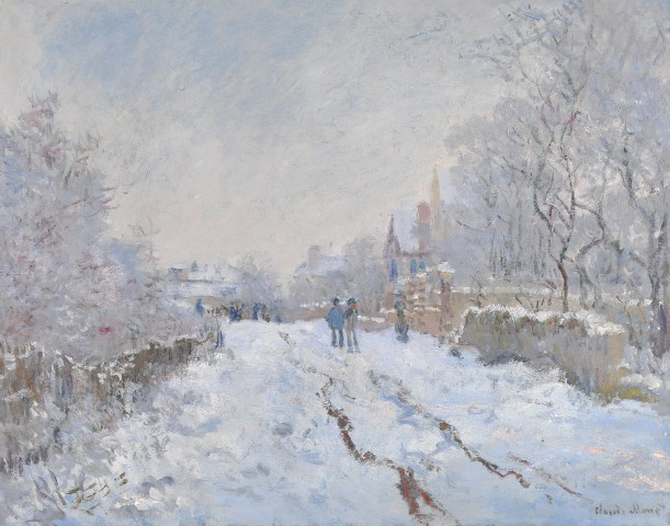 【送料無料】複製名画油絵 モネ作「雪のアルジャントゥイユ」  額付き 絵画サイズ: 50x60 cm