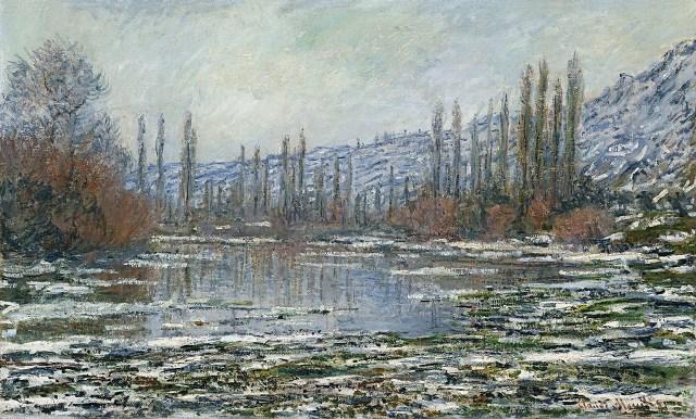 【送料無料】複製名画油絵 モネ作「ヴェトゥイユの雪解け」  額付き 絵画サイズ: 50x60 cm