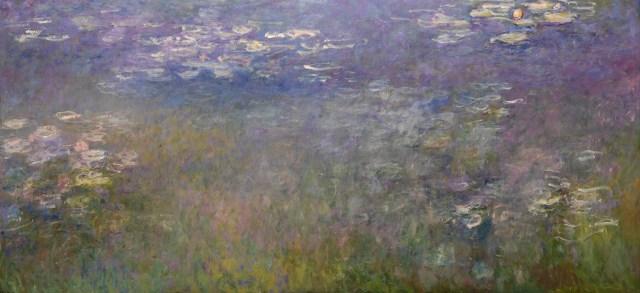 【送料無料】複製名画油絵 モネ作「睡蓮とアガパンサス(部分)」  額付き 絵画サイズ: 50x60 cm