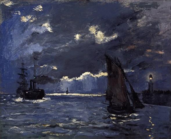 【送料無料】複製名画油絵 モネ作「海景(夜の効果)」  額付き 絵画サイズ: 40x50 cm