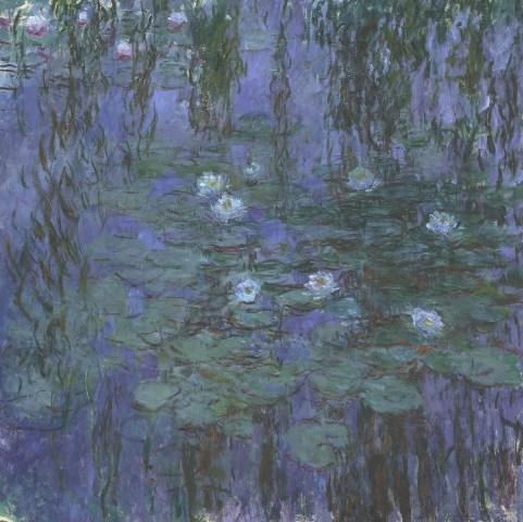 【送料無料】複製名画油絵 モネ作「青睡蓮」  額付き 絵画サイズ: 50x60 cm