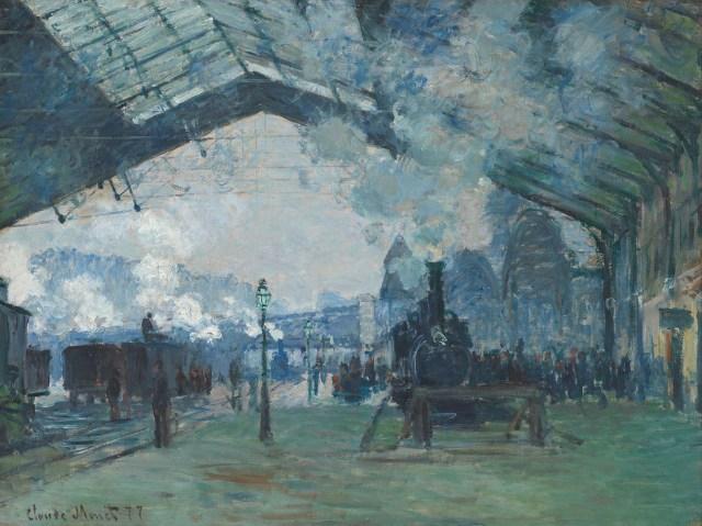 【送料無料】複製名画油絵 モネ作「ノルマンディーーの列車の到着 サン・ラザール駅」  額付き 絵画サイズ: 40x50 cm