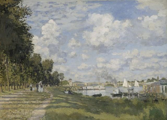 【送料無料】複製名画油絵 モネ作「アルジャントゥイユの船着き場」  額付き 絵画サイズ: 50x60 cm