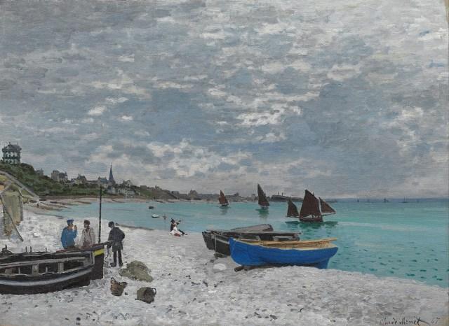 【送料無料】複製名画油絵 モネ作「サン・タドレスの海岸」  額付き 絵画サイズ: 50x60 cm