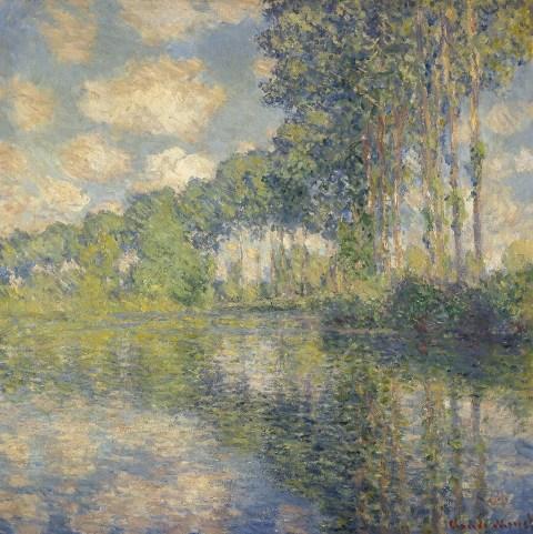 【送料無料】複製名画油絵 モネ作「エプト川のポプラ」  額付き 絵画サイズ: 50x60 cm