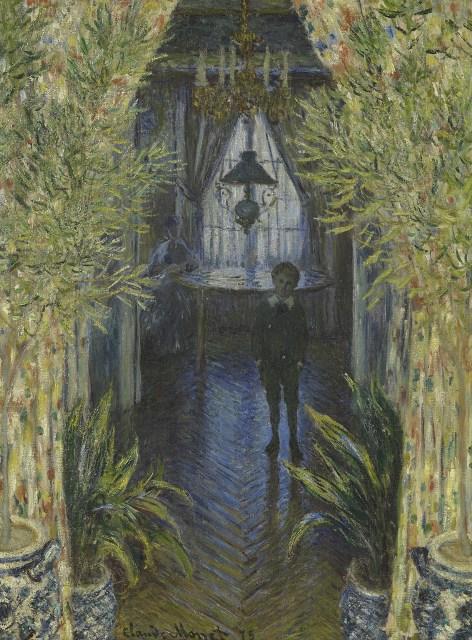 【送料無料】複製名画油絵 モネ作「アパートの片隅」  額付き 絵画サイズ: 50x60 cm