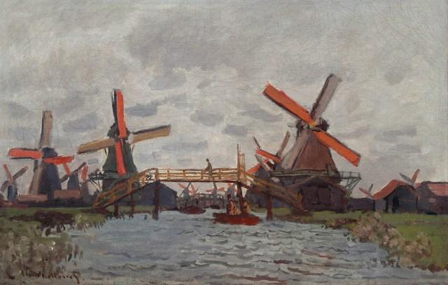 【送料無料】複製名画油絵 モネ作「ザーンダム近くの風車」  額付き 絵画サイズ: 50x60 cm
