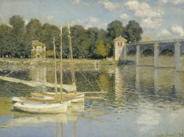 最適な材料 【送料無料】複製名画油絵 モネ作「アルジャントゥイユの橋」  額付き 絵画サイズ: 30x40 cm, 家具のHirayama 6825a524