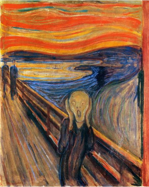 【送料無料】複製名画油絵 ムンク作「叫び」額付き 絵画サイズ: 40x50 cm
