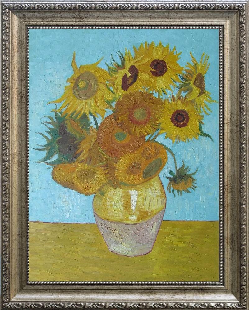 【送料無料】複製名画油絵 ゴッホ作「12輪のひまわり」額付き絵画サイズ: 30x40 cm